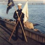 Flag bearer at Treasure Island Navy Base, next to SF, CA