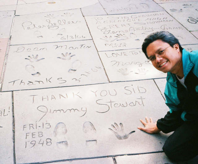 Matching hand prints with Jimmy Stewart