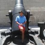 Leaning against a 19th century cannon, Treasure Island, FL