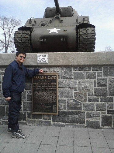 Posing in front of the Bradley tank, West Point, NY