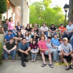 Me and my communication class at Watkins portico across from the library