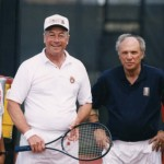 After the tennis match, posing with the U.S. Secretary of the Navy, owner of Crowne Point and my brother Rex, University of Louisville Tennis Coach in Louisville (KY)