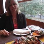 Overlooking Washington DC while Lorri enjoys a shrimp feast.