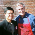 Me and NGU president, Dr. Jimmy Epting, at his home grilling steak for honors students